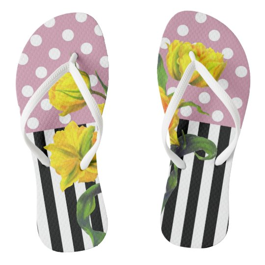 yellow tulip polka dot flip flops