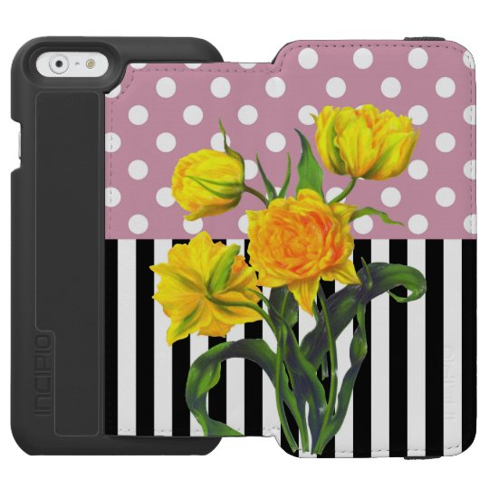 yellow tulip polka dot incipio watson™ iPhone 6 wallet case