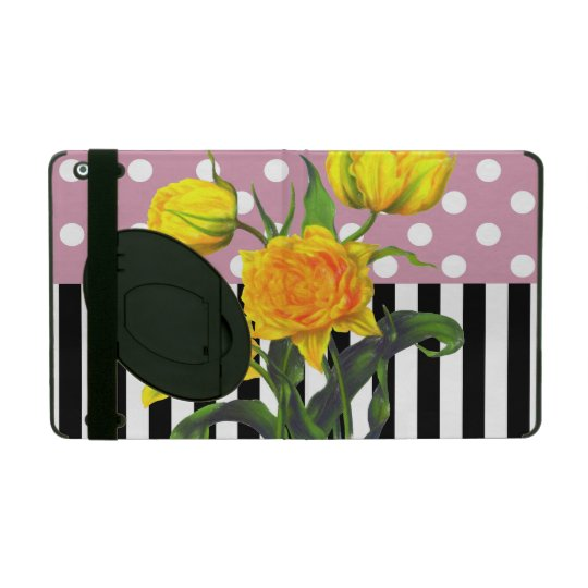 yellow tulip polka dot iPad folio case