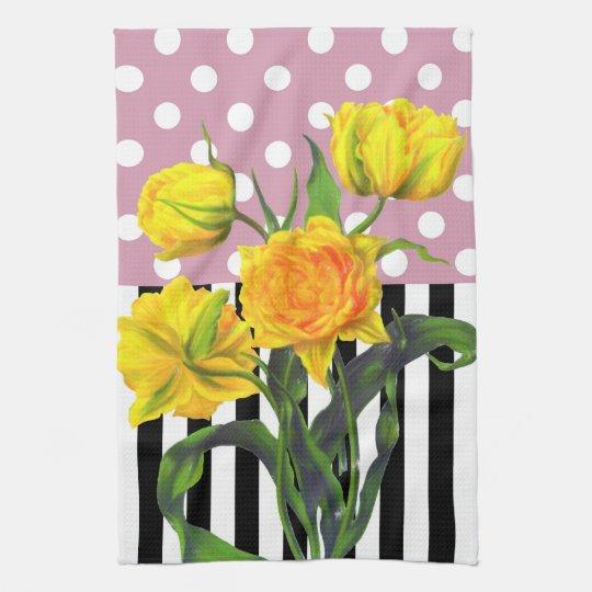 yellow tulip polka dot kitchen towel
