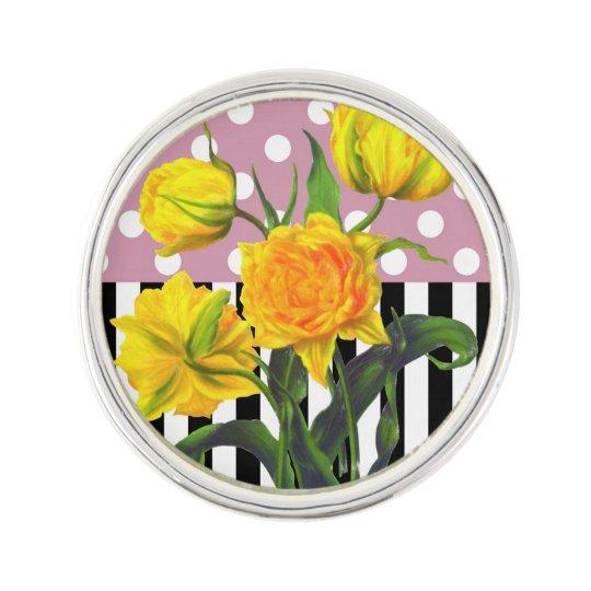 yellow tulip polka dot lapel pin
