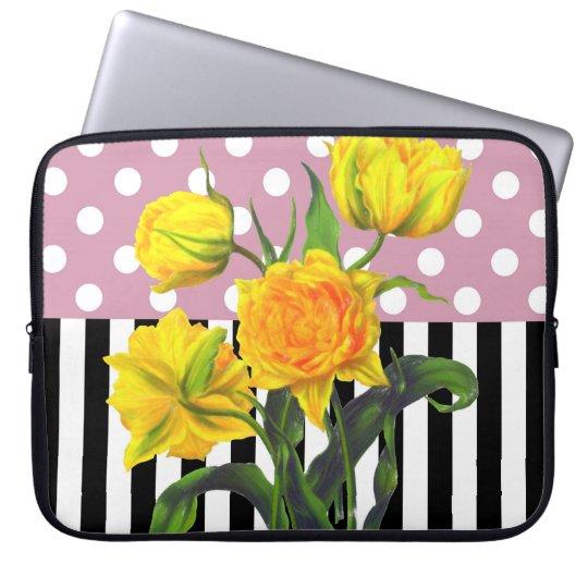 yellow tulip polka dot laptop sleeve