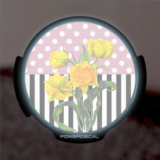 yellow tulip polka dot LED window decal