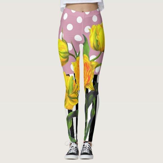 yellow tulip polka dot leggings