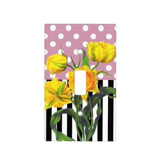 yellow tulip polka dot light switch cover