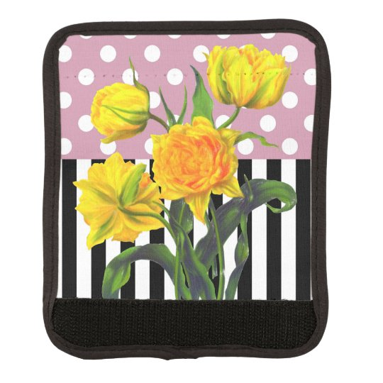 yellow tulip polka dot luggage handle wrap