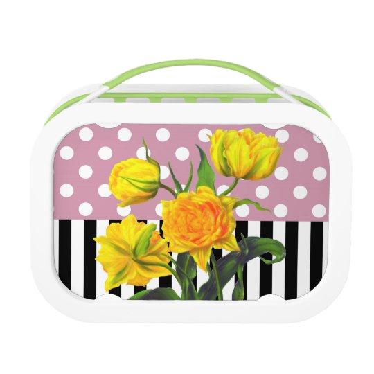 yellow tulip polka dot lunch box