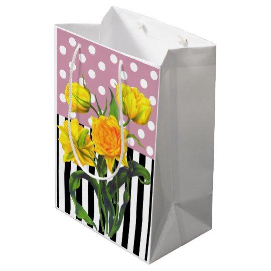 yellow tulip polka dot medium gift bag