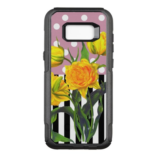 yellow tulip polka dot OtterBox commuter samsung galaxy s8+ case