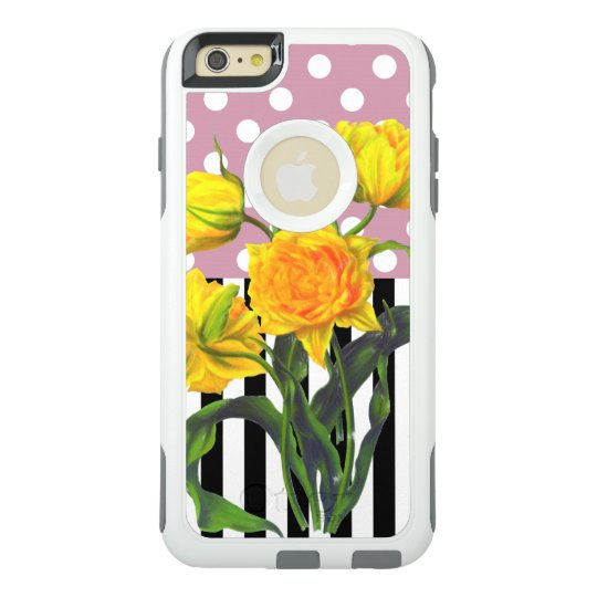 yellow tulip polka dot OtterBox iPhone 6/6s plus case