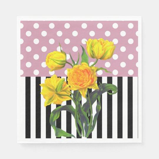 yellow tulip polka dot paper napkin