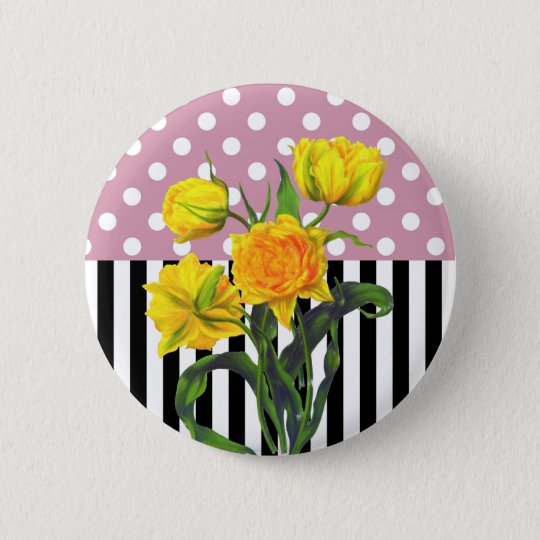 yellow tulip polka dot pattern 2 inch round button