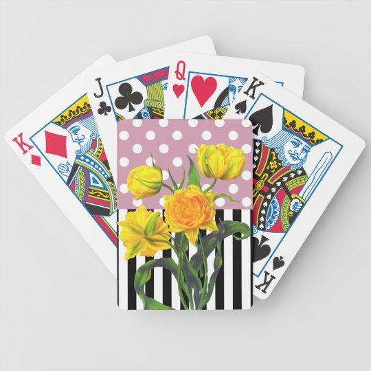 yellow tulip polka dot pattern bicycle playing cards