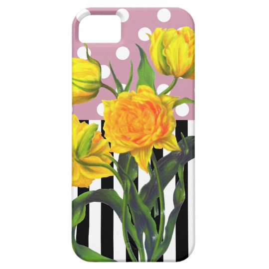 yellow tulip polka dot pattern case for the iPhone 5