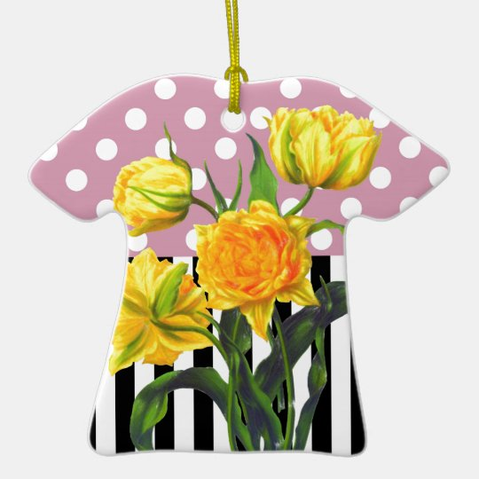 yellow tulip polka dot pattern ceramic ornament