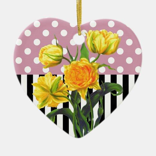 yellow tulip polka dot pattern ceramic ornament