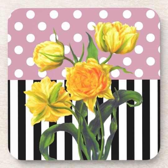 yellow tulip polka dot pattern coaster
