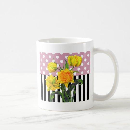 yellow tulip polka dot pattern coffee mug
