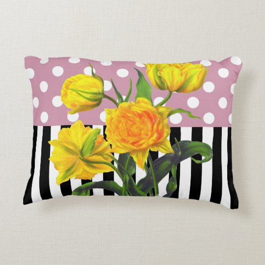yellow tulip polka dot pattern decorative pillow