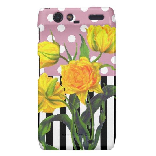 yellow tulip polka dot pattern droid RAZR cover