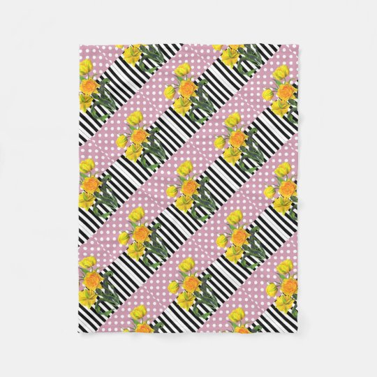 yellow tulip polka dot pattern fleece blanket