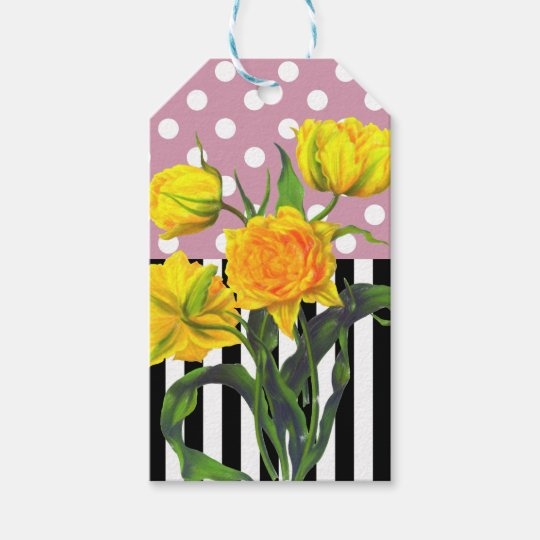 yellow tulip polka dot pattern gift tags