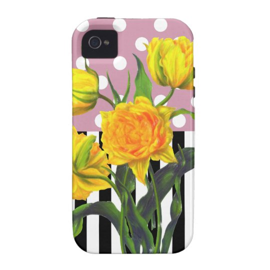 yellow tulip polka dot pattern iPhone 4 case
