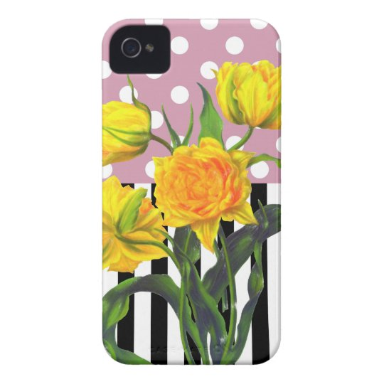 yellow tulip polka dot pattern iPhone 4 Case-Mate case