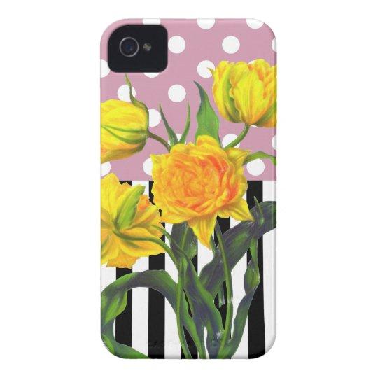 yellow tulip polka dot pattern iPhone 4 covers
