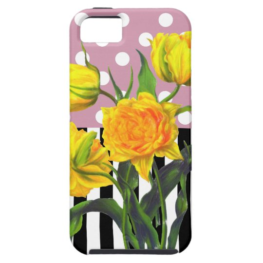 yellow tulip polka dot pattern iPhone 5 case