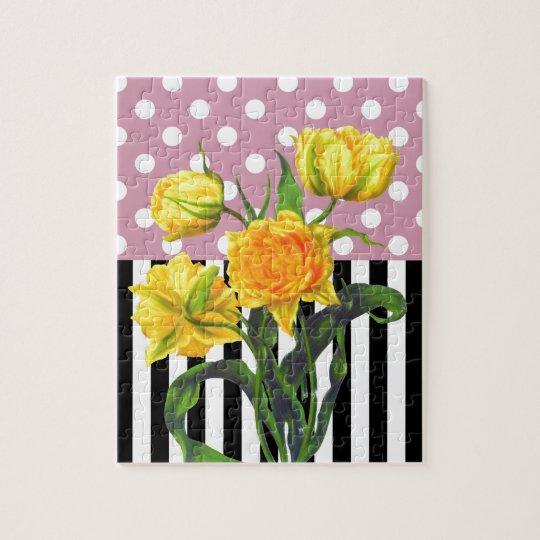 yellow tulip polka dot pattern jigsaw puzzle