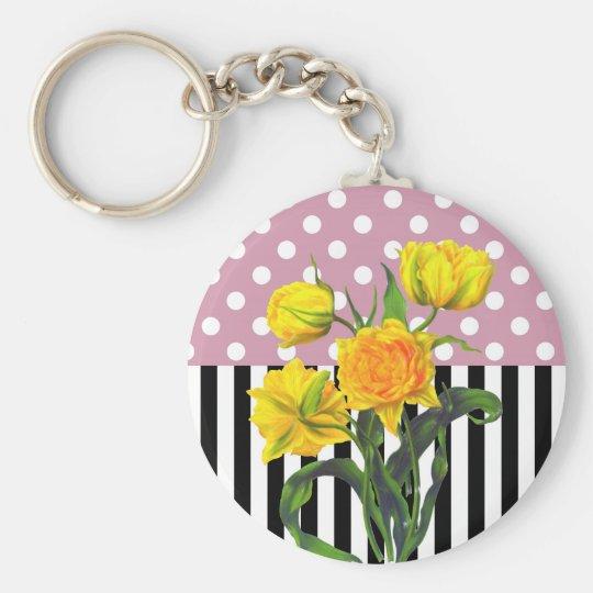 yellow tulip polka dot pattern keychain