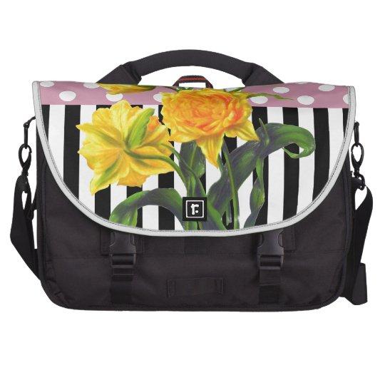 yellow tulip polka dot pattern laptop shoulder bag