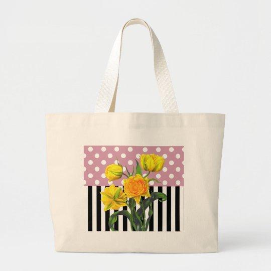 yellow tulip polka dot pattern large tote bag