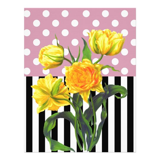 yellow tulip polka dot pattern letterhead