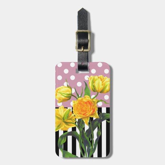 yellow tulip polka dot pattern luggage tag