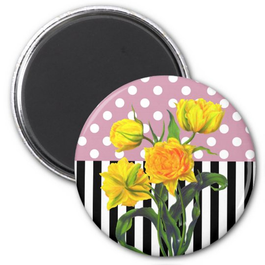 yellow tulip polka dot pattern magnet