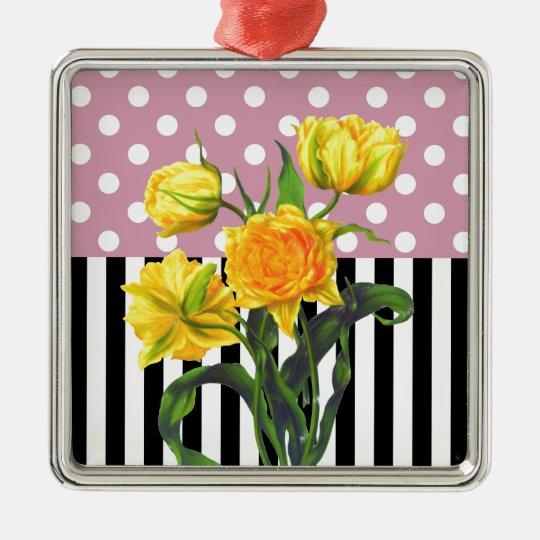 yellow tulip polka dot pattern metal ornament