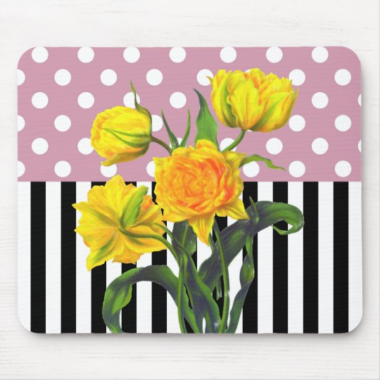 yellow tulip polka dot pattern mouse pad
