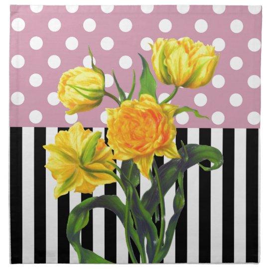 yellow tulip polka dot pattern napkin