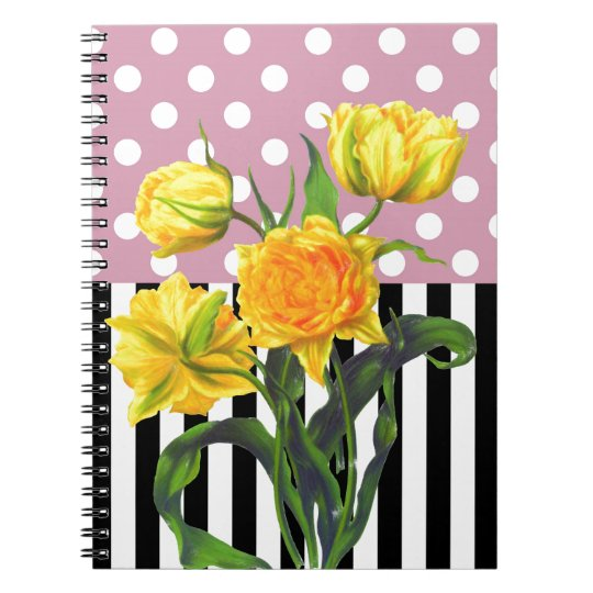 yellow tulip polka dot pattern notebook