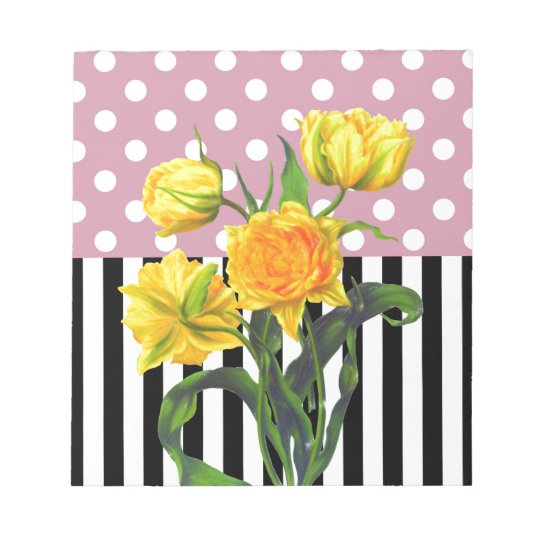 yellow tulip polka dot pattern notepad