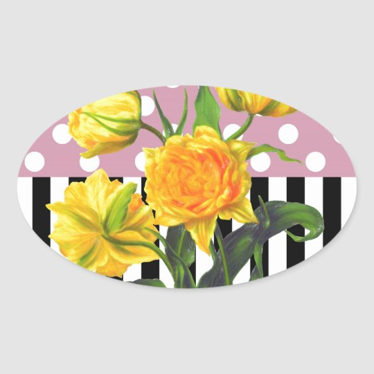 yellow tulip polka dot pattern oval sticker