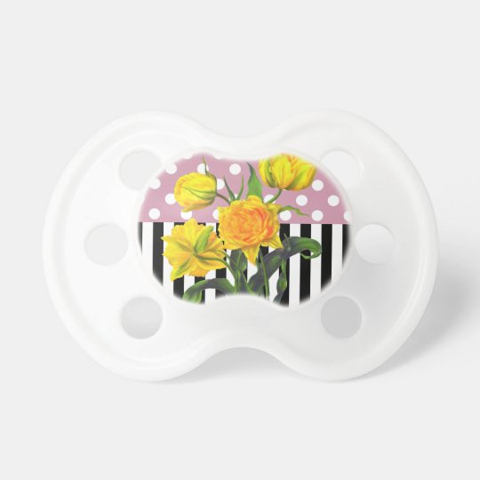 yellow tulip polka dot pattern pacifier
