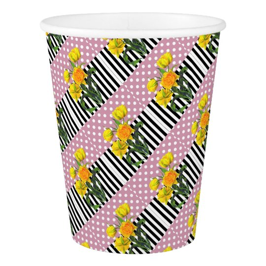 yellow tulip polka dot pattern paper cup