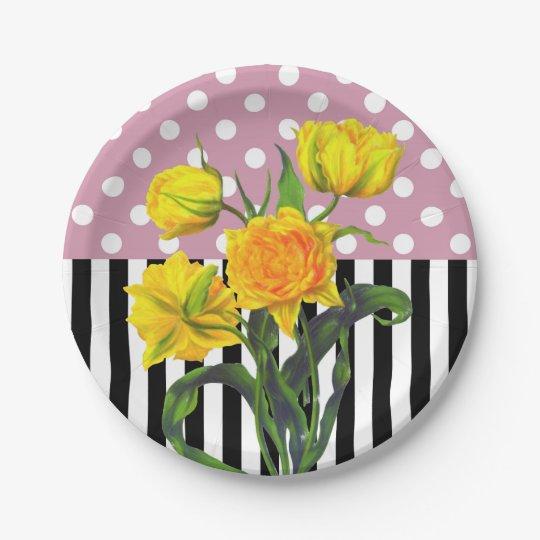 yellow tulip polka dot pattern paper plate