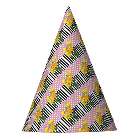 yellow tulip polka dot pattern party hat