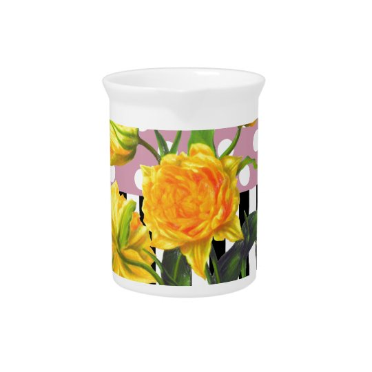 yellow tulip polka dot pattern pitcher