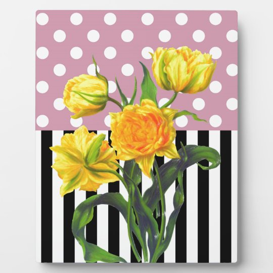 yellow tulip polka dot pattern plaque