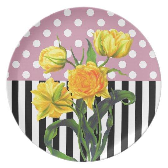 yellow tulip polka dot pattern plate